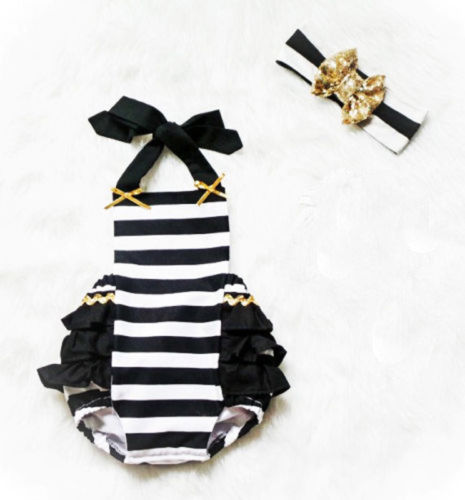 Cute Newborn Baby Girls romper cotton Striped Ruffle Romper Sunsuit Outfits+headband set -0-24m 5