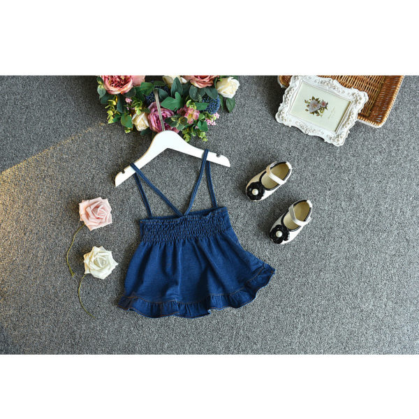 LOVE DD&MM Girls Sets 2019 Summer New Kid's Wear Girls Fashion Lapel Short-Sleeved T-Shirt + Sling Denim Dress Two-Piece Suit 5