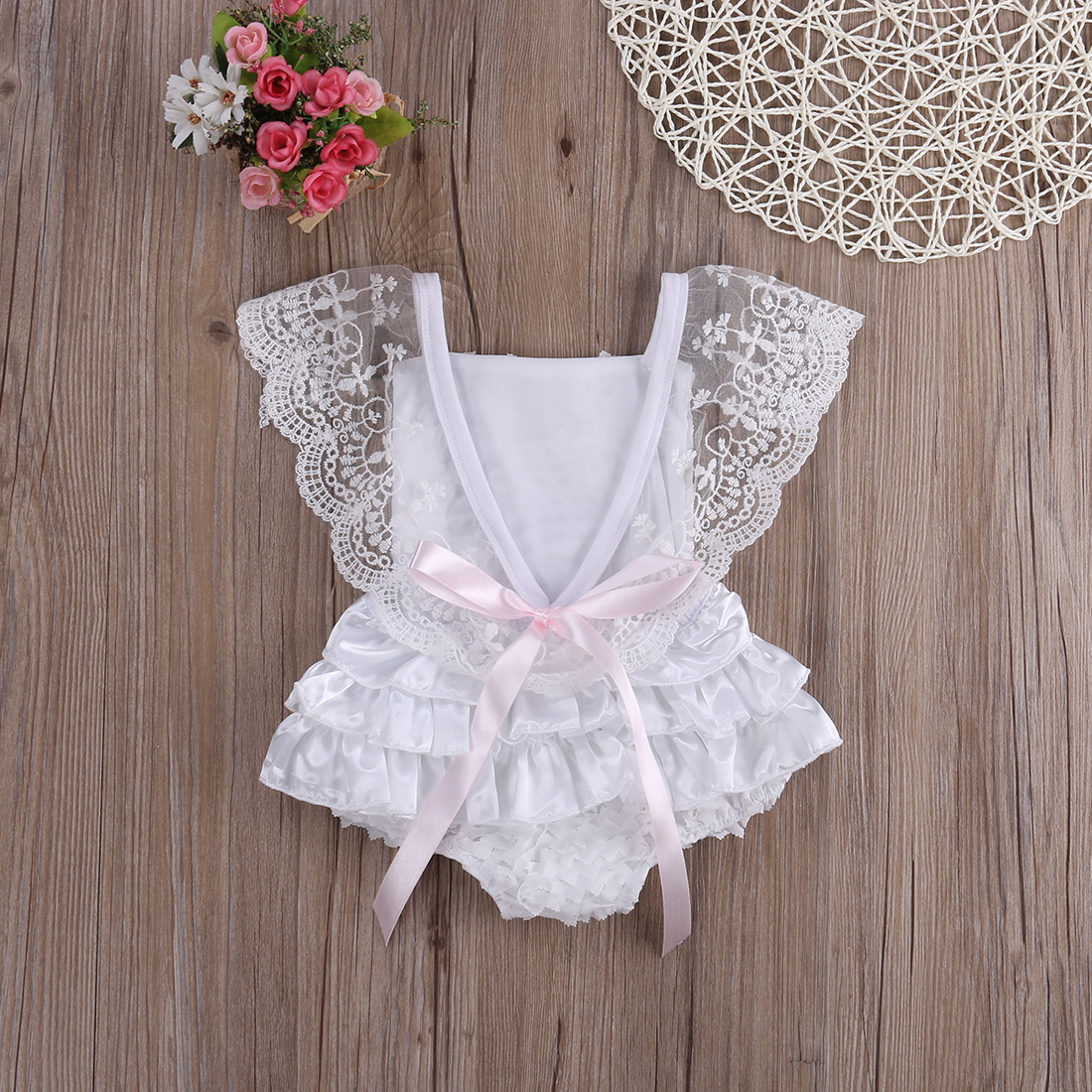 Cute Baby Girl Romper Sunsuit White Summer Outfits