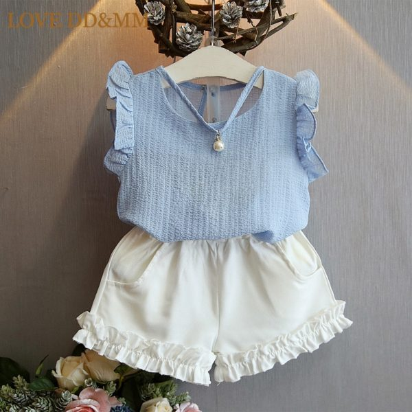 LOVE DD&MM Girls Clothing Sets 2019 Kids Summer Clothes Children's Chiffon White Shirts + Gray Skirts Pants Suits For girl