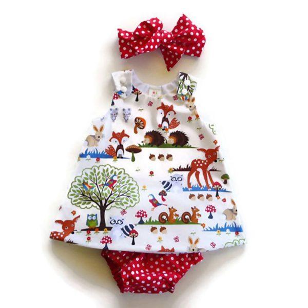 Newborn Baby Girl Clothes Toddler Floral Headband Cartoon Dress Dot Shorts Outfits Clothes 0-24M 3pcs sets 5