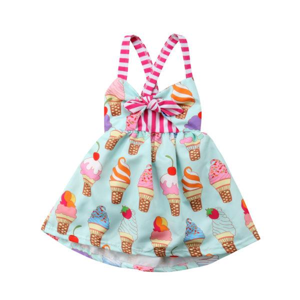 2018 Toddler Kids Baby Girls Strap Backless Dress Ice Cream Sundress Summer Cute Green Clothes