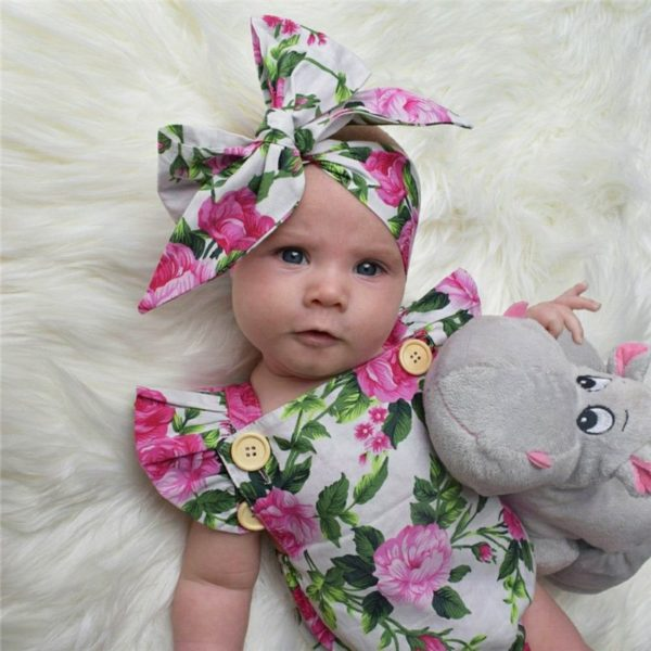 2018 New Summer 2PCS Floral Baby Girl Clothes Ruffles Halter Romper Bodysuit Headband Outfit Toddler Kids Clothing Set 0-24M