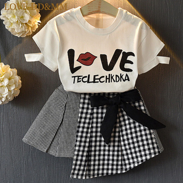 LOVE DD&MM Girls Sets 2019 New Children's Clothing Girls Letter Printed Short-Sleeved T-Shirt + Bow Lattice Skirt Two-Piece Suit