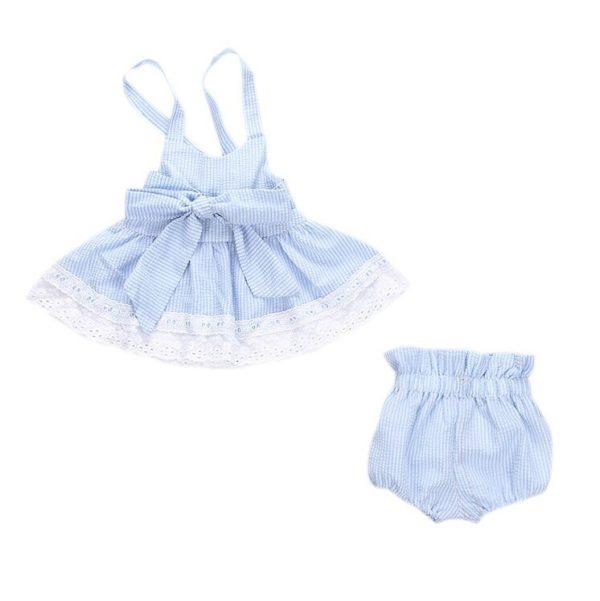 2pcs Newborn Baby Girls Bowknot Clothes 2018 Summer Striped Vest Tops + Bottoms Outfit Bebek Giyim Toddler Kids Clothing Set 4