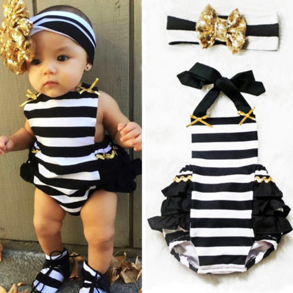 Cute Newborn Baby Girls romper cotton Striped Ruffle Romper Sunsuit Outfits+headband set -0-24m