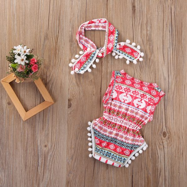 2018 Lovely Floral Baby Girls Classic Sleeveless Romper Bodysuit One Pieces Headband Clothes Sunsuit Outfits 1