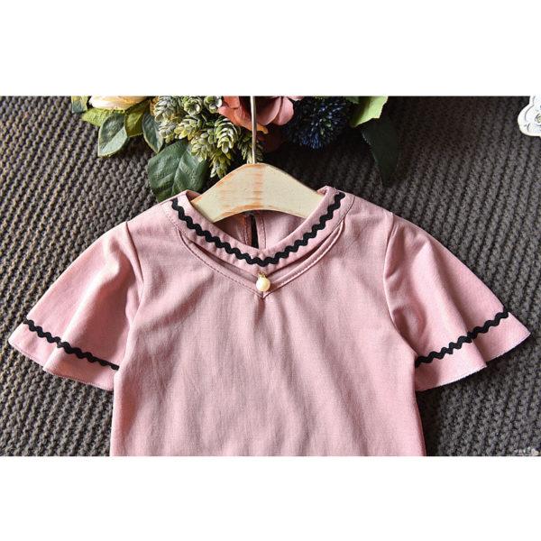 LOVE DD&MM Girls Sets 2019 Summer New Clothing Girls Fashion Hollow V-Neck Short-Sleeved T-Shirt + Denim Skirt Baby Suit 2