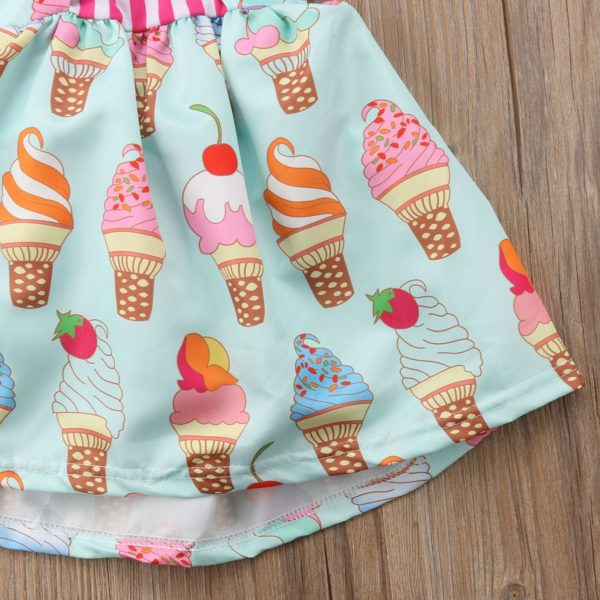 2018 Toddler Kids Baby Girls Strap Backless Dress Ice Cream Sundress Summer Cute Green Clothes 5