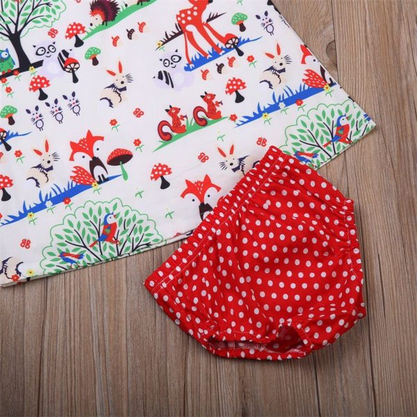 Newborn Baby Girl Clothes Toddler Floral Headband Cartoon Dress Dot Shorts Outfits Clothes 0-24M 3pcs sets 3