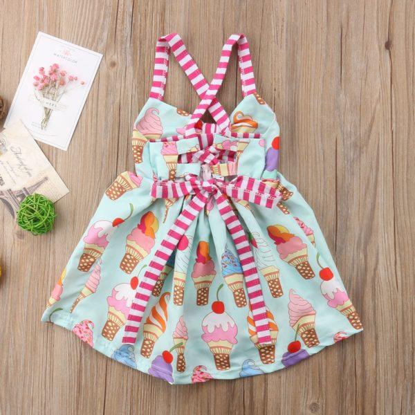 2018 Toddler Kids Baby Girls Strap Backless Dress Ice Cream Sundress Summer Cute Green Clothes 4