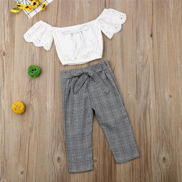 2-7T Toddler Kids Baby Girls Clothes set Summer Off Shoulder Lace Crop Top and long Pants Cute lovely Sweet Streetwear outfits 2