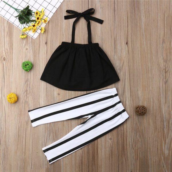 1-6Y Cute Girls Summer Clothing Kid Strap Tops+Striped Pants Leggings 2pcs Outfits Kids Fashion Clothes toddler girl clothes 1