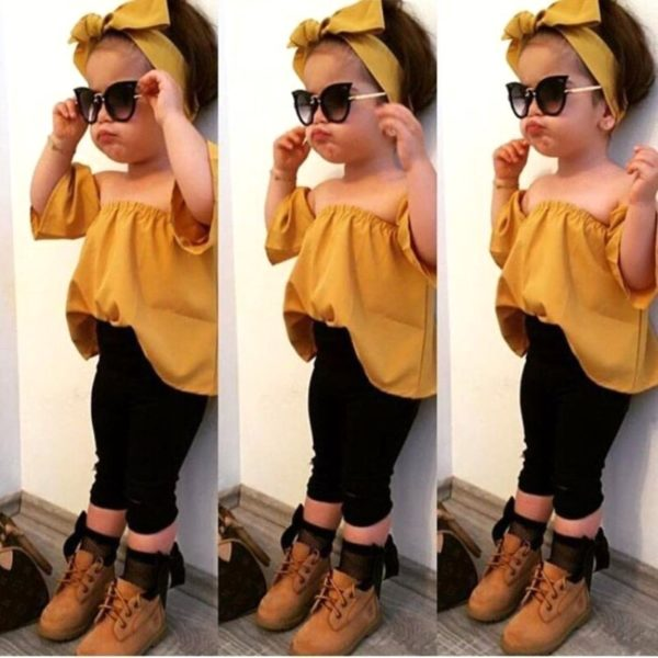 Toddler Baby Girls clothes Off Shoulder pullover short sleeve Tops solid Pants Bow Headband 3pc kids cotton lovely Outfits