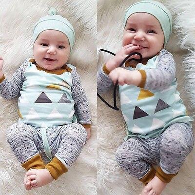 3PCS Newborn Spring Cotton blue cute Baby Boys Girls clothes set O-Neck baby Clothing Sets Long sleeve T Shirt+Hat+Pants toddler 1