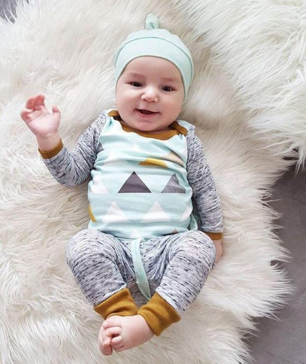 3PCS Newborn Spring Cotton blue cute Baby Boys Girls clothes set O-Neck baby Clothing Sets Long sleeve T Shirt+Hat+Pants toddler