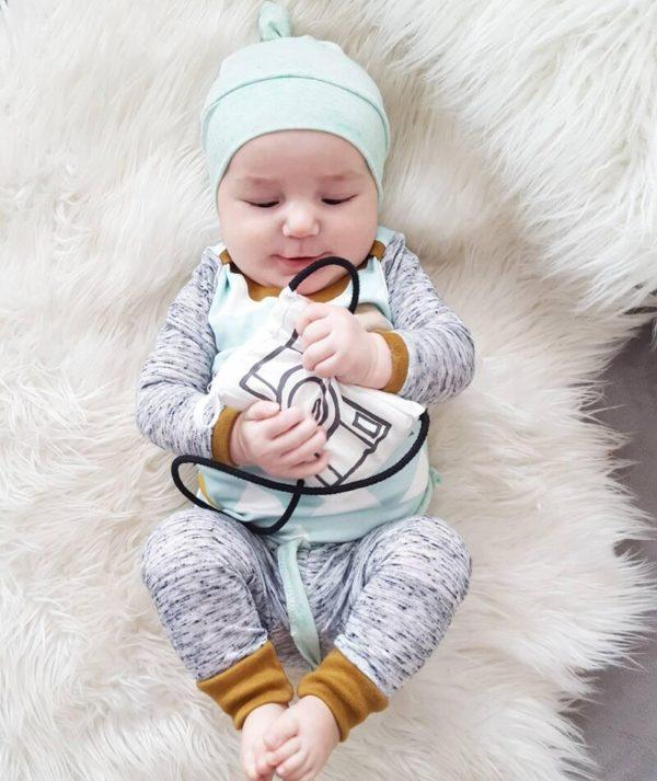 3PCS Newborn Spring Cotton blue cute Baby Boys Girls clothes set O-Neck baby Clothing Sets Long sleeve T Shirt+Hat+Pants toddler 2