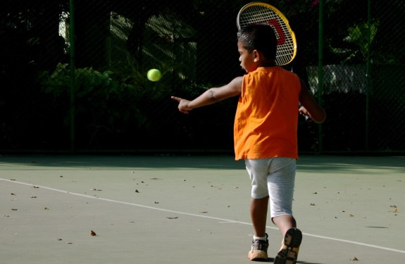 Young kid playing tennis, Roland Garros Kids' Day
