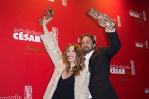 Young Guns: Izia Higelin and Matthias Schoenaerts with their Best Young Actors awards at Le Fouquets Restaurant