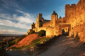 Medieval walled city of carcassonne, aude department, france