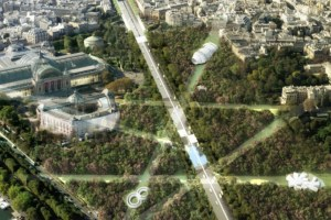"Connected Forest: Viguier suggests planting hundreds of trees between the roundabout and Place de la Concorde to create ""a veritable forest, with full WiFi coverage, leaving glades"", dotted with""ephemeral pieces of micro-architecture"""