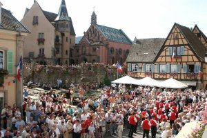 Party-time for Alsations: A scene from the colourful wine festival at Eguisheim