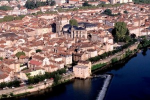 On a bend in the river - View of Cahors with its mult-cuppola Cathedral