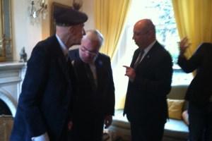 Survivor Leslie (l) with Jean-Marc Todeschini and Ambassador H.E. Jean-Pierre Thébault.