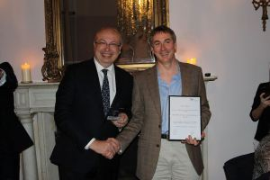 Conor Power receiving the award for best article in the Gastronomy & Wine category from French Ambassador Jean-Pierre Thébault at the inaugural French Travel Media Awards, 4 March 2016.