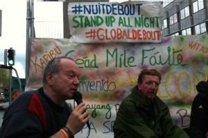 Pierre Klein (l) at the Nuit Debout gathering