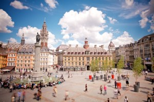 "The ""place"" to be: people strolling across a sun-drenched Grand Place in Lille city centre"