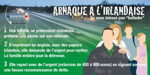 """Irish Scam"": A warning poster from the Gendarmerie Nationale warns motorway users to be wary of people posing as an Irish family attempting to extort up to €900"