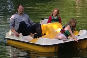 Summer fun: Ludovic and the girls on a day off in summer.