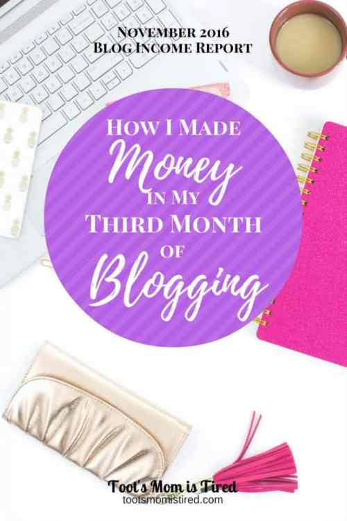 How I made money in my third month of blogging | November 2016 blog income report and traffic report