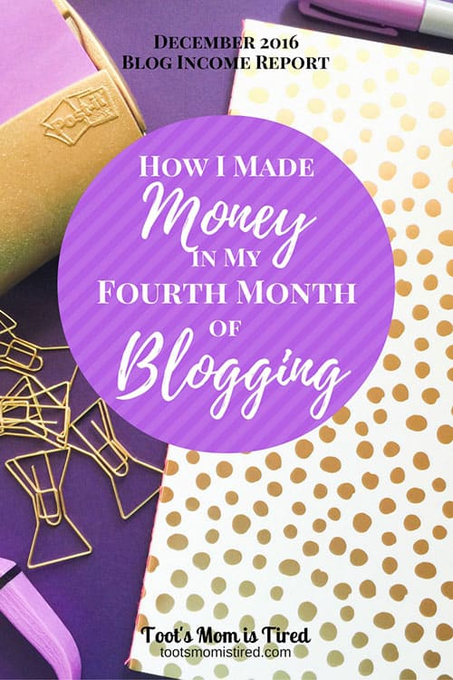 How I Made Money in my Fourth Month of Blogging | December 2016 Blog Income Report, blogging stats and tips