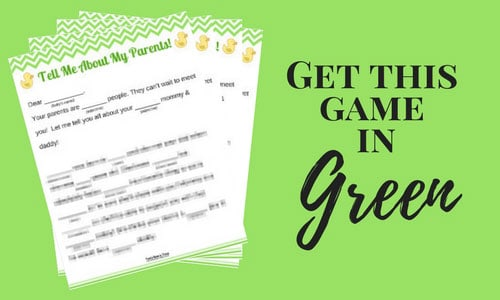Green baby shower game