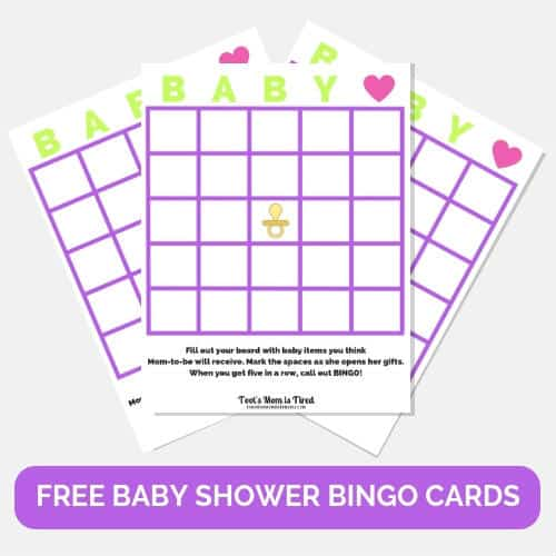 free baby shower bingo cards