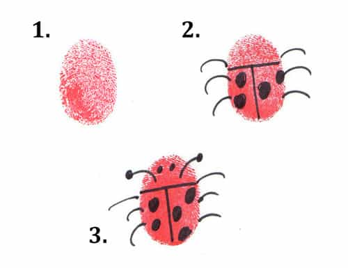 ladybug thumbprint bugs craft for toddlers and preschoolers