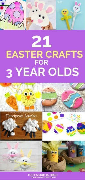 21 Easter Crafts for 3 Year Olds   Easy Easter crafts that 3 year olds can make, Easter egg, Easter bunny, Easter basket and Easter chick crafts for toddlers and preschoolers. #Easter #crafts #KidsCrafts #toddlers #3yearold