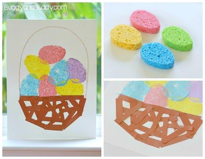 Sponge Painted Easter Egg Basket