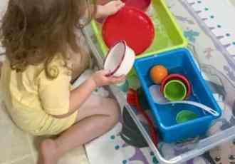 Washing dishes sensory bin idea