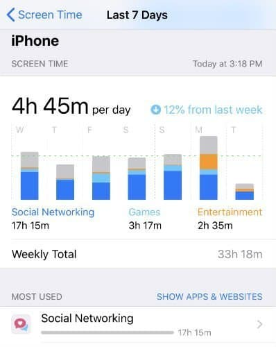 iPhone Screen time for social networking