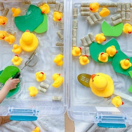 Rubber ducky sensory bin for toddlers and preschoolers