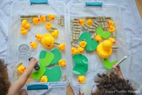 Water sensory bin for toddlers and preschoolers