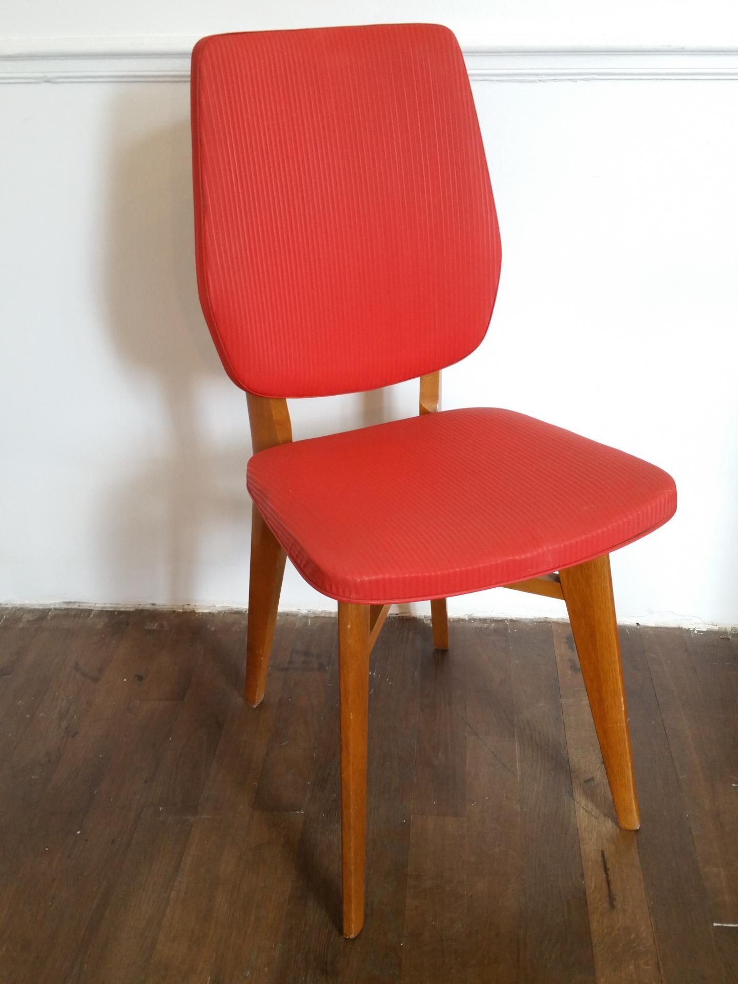pieds compas chaise vintage skai rouge
