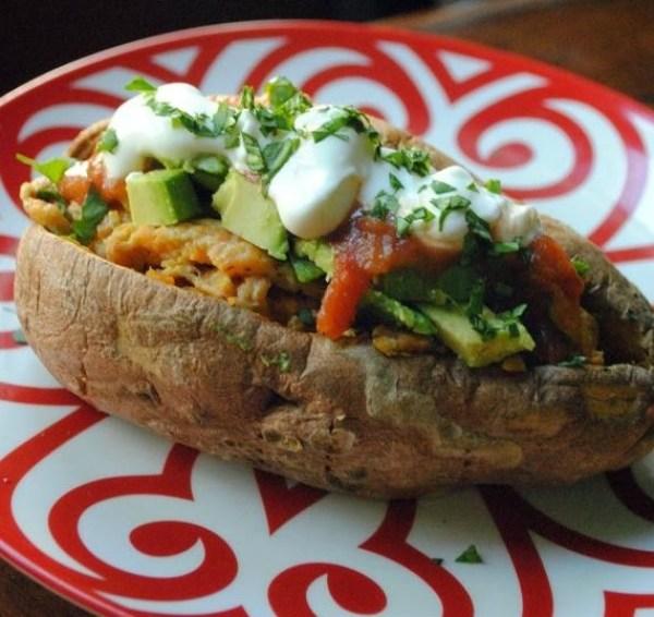 Egg-Stuffed Sweet Potatoes With Avocado