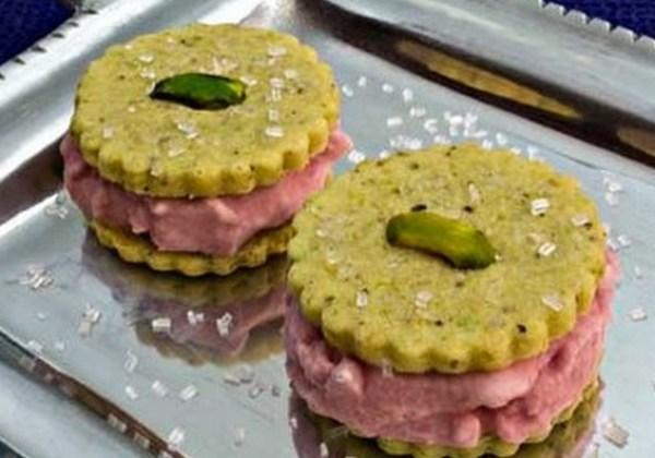 Pomegranate Ice Cream in Pistachio-Cardamom Cookie Sandwiches