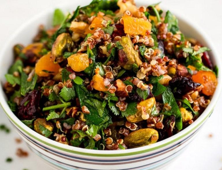 Rainbow Quinoa Salad With Mixed Nuts