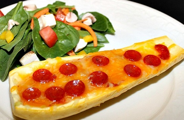 Yellow Squash Pepperoni Pizza Boats