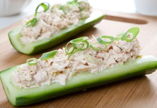 Cucumber & Chicken Salad Boats